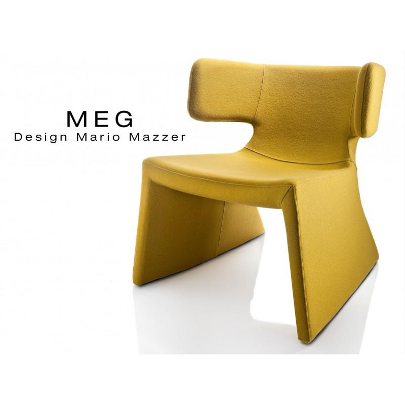 MEG fauteuil design rembourré et capitonné laine jaune.