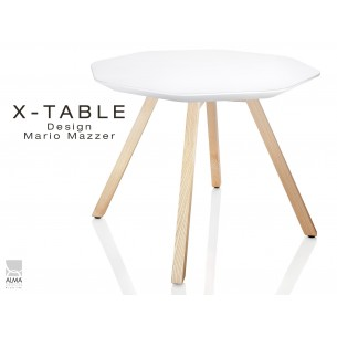 Table d'appoint X-TABLE plateau couleur blanc, piétement Frène naturel.