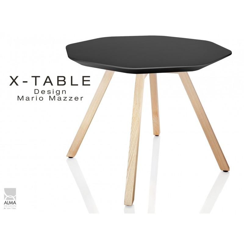 Table d'appoint X-TABLE plateau couleur noir, piétement Frène naturel.