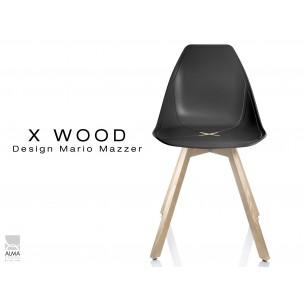 X-WOOD chaise design coque piétement bois Naturel coque noir - lot de 4 chaises