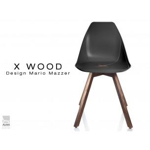 X-WOOD chaise design coque piétement bois Noyer coque noir - lot de 4 chaises