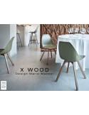 X-WOOD chaise design coque piétement bois Noyer coque vert militaire - lot de 4 chaises