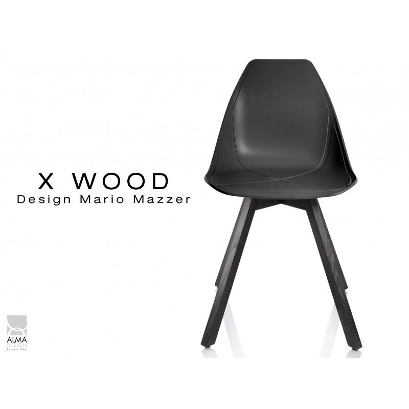 X-WOOD chaise design coque piétement bois gris fer coque noir - lot de 4 chaises