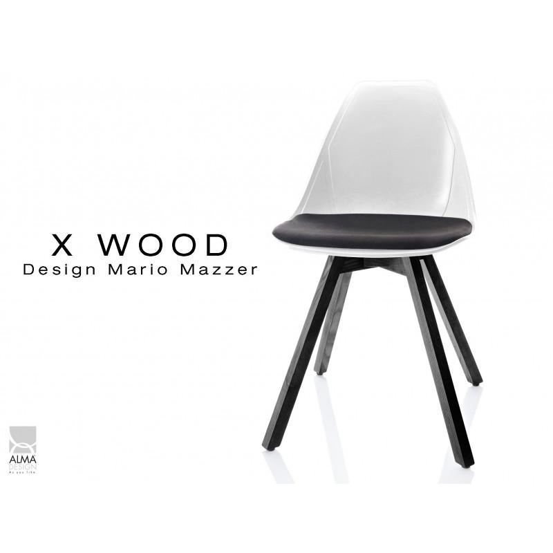 X-WOOD chaise design coque blanche et coussin noir piétement bois gris fer - lot de 4 chaises