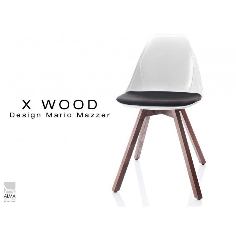 X-WOOD chaise design coque blanche et coussin noir piétement bois Noyer - lot de 4 chaises