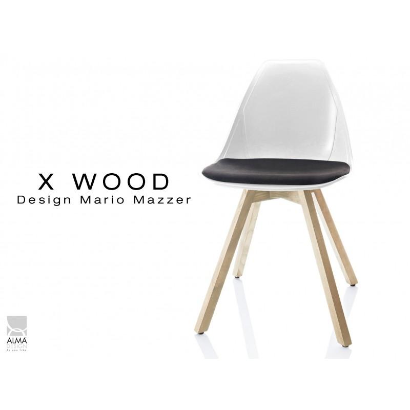 X-WOOD chaise design coque blanche et coussin noir piétement bois Naturel - lot de 4 chaises