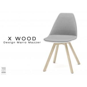 X-WOOD chaise design assise capitonnée gris clair, coque blanche, piétement bois naturel - lot de 4 chaises