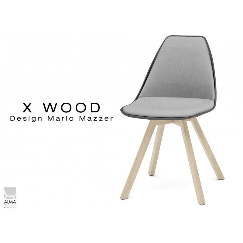 X-WOOD chaise design assise capitonnée gris clair, coque noir, piétement bois naturel - lot de 4 chaises