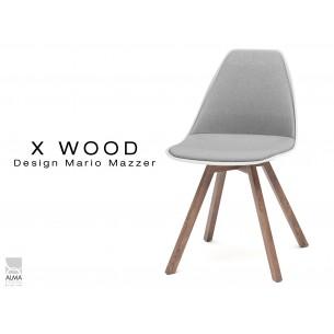 X-WOOD chaise design assise capitonnée gris clair, coque blanche,  piétement bois vernis Noyer - lot de 4 chaises