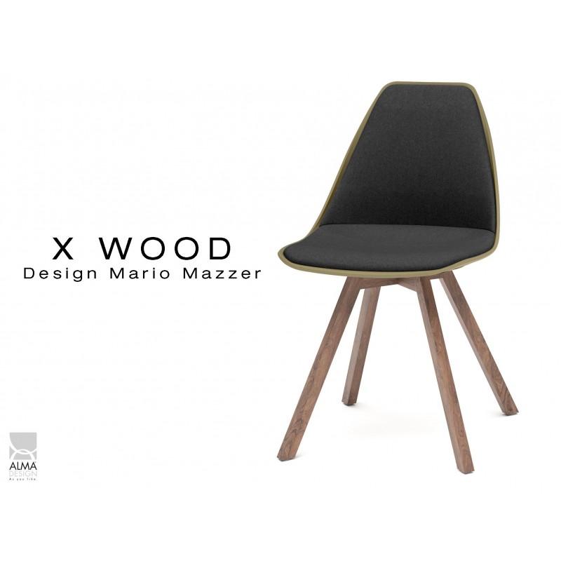X-WOOD chaise design assise capitonnée noir, coque vert militaire, piétement bois vernis Noyer - lot de 4 chaises