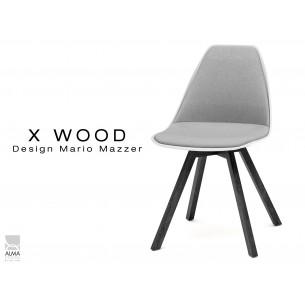 X-WOOD chaise design assise capitonnée gris clair, coque blanche,  piétement bois vernis gris Fer - lot de 4 chaises