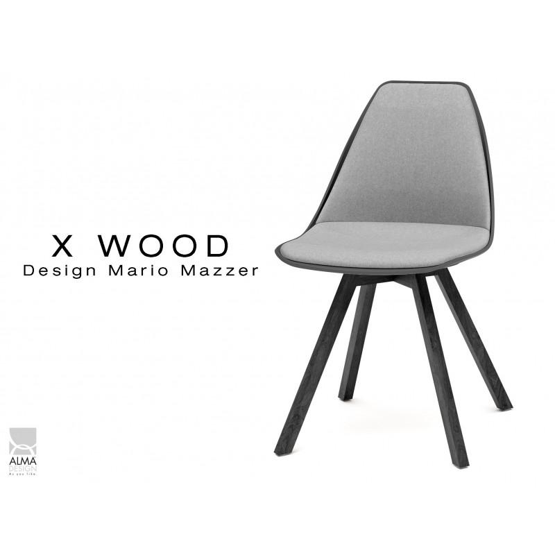 X-WOOD chaise design assise capitonnée gris clair, coque noir, piétement bois vernis gris Fer - lot de 4 chaises