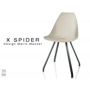 X-SPIDER coque sable clair, piétement peinture polyester noir - lot de 4 chaises