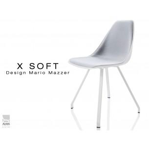 X-SOFT chaise design assise coque blanche, capitonnée gris clair, piétement peinture blanc - lot de 4 chaises