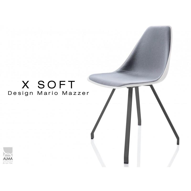 X-SOFT coque blanche capitonnée gris, piétement noir - lot de 4 chaises