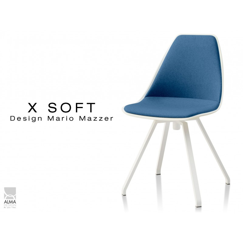 X SOFT Pivotante Assise Capitonnee Tissu Bleu TE25 Pietement Et Coque Blanc