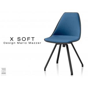 X-SOFT BLACK assise capitonnée tissu Bleu-TE25, piétement et coque noir - lot de 2 chaises