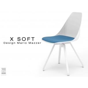 X-SOFT WHITE pivotante, coussin Bleu-TE25, piétement peinture polyester blanc.