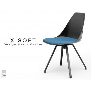 X-SOFT BLACK assise avec coussin Bleu-TE25, piétement et coque noir.