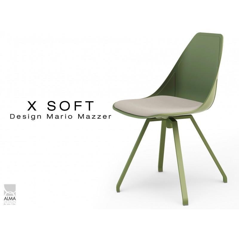 X-SOFT VERT militaire assise avec coussin Crème-TE16, piétement et coque vert militaire.
