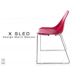 X-SLED piétement chromé assise coque rouge - lot de 4 chaises