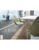 X-SLED piétement chromé assise coque vert militaire - lot de 4 chaises