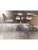 X-SLED piétement chromé assise coque sable clair - lot de 4 chaises