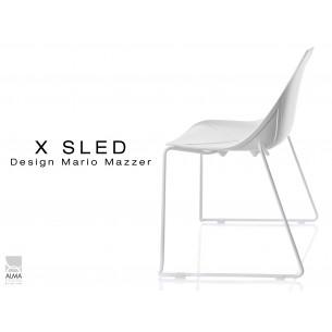 X-SLED piétement peinture blanc assise coque blanche - lot de 4 chaises
