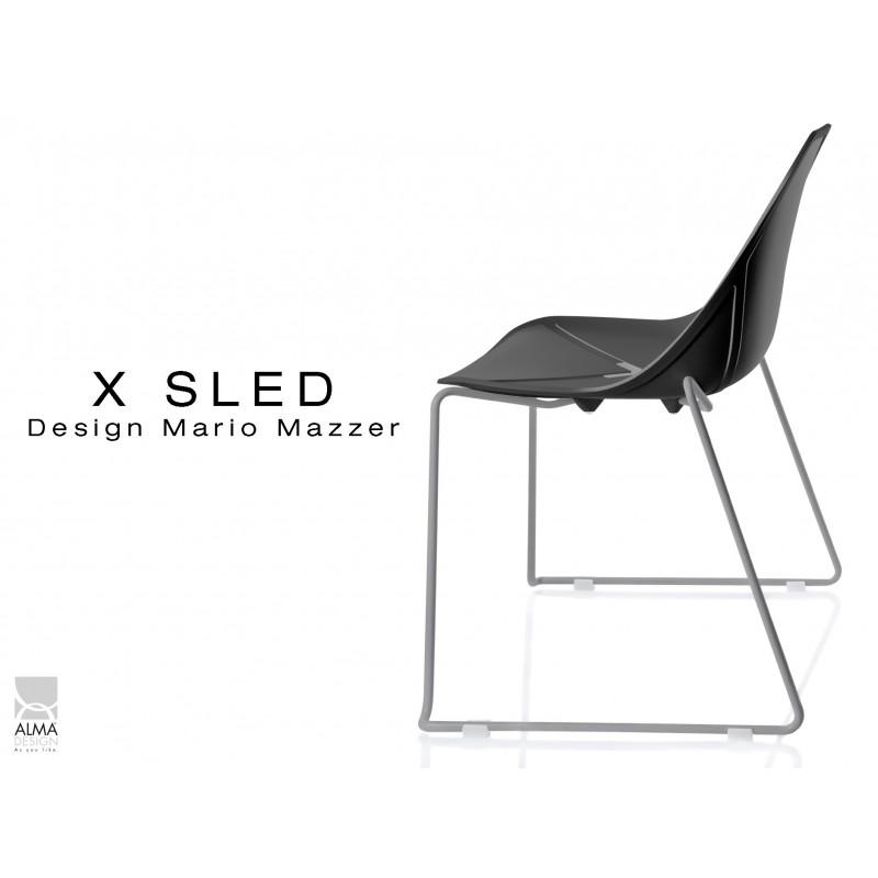 X-SLED piétement peinture gris aluminium assise coque noir - lot de 4 chaises