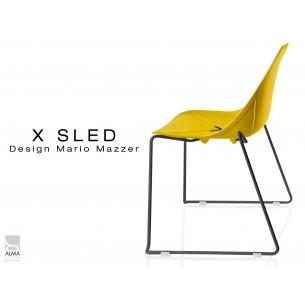 X-SLED piétement peinture noir assise coque jaune - lot de 4 chaises