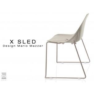 X-SLED piétement peinture sable assise coque sable clair - lot de 4 chaises