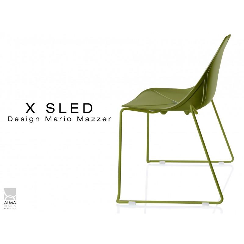 X-SLED piétement peinture vert militaire assise coque vert militaire - lot de 4 chaises