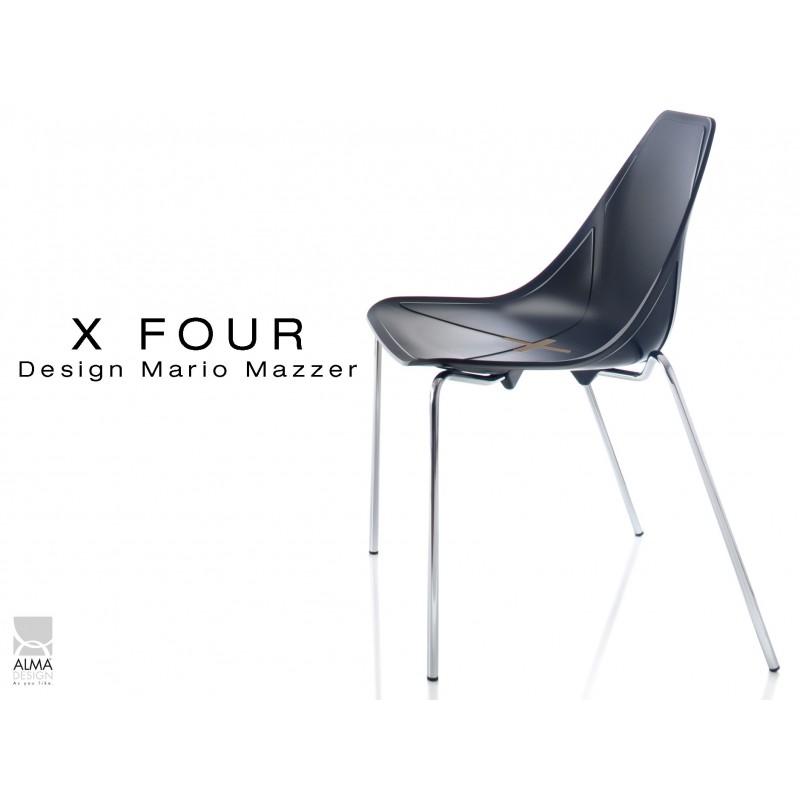 X-FOUR piétement chromé assise coque noir - lot de 4 chaises