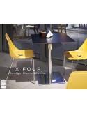 X-FOUR piétement chromé assise coque jaune - lot de 4 chaises