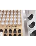 X-FOUR piétement chromé assise coque blanche ou noir - lot de 4 chaises
