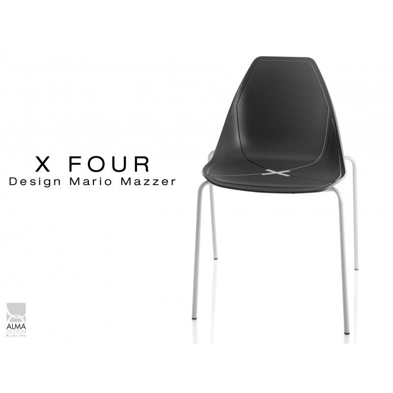 X-FOUR piétement blanc assise coque noir - lot de 4 chaises