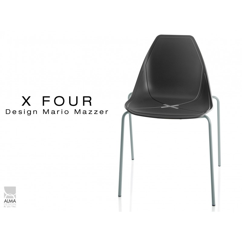 X-FOUR piétement gris aluminium assise coque noir - lot de 4 chaises