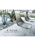 X-FOUR piétement blanc assise coque vert militaire - lot de 4 chaises