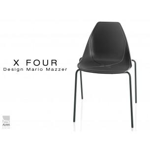 X-FOUR piétement noir assise coque noir - lot de 4 chaises