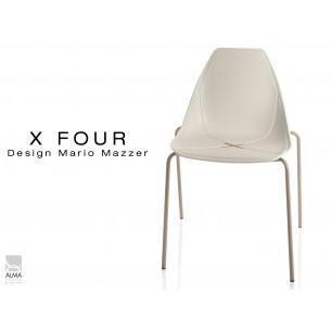 X-FOUR piétement sable assise coque sable clair - lot de 4 chaises
