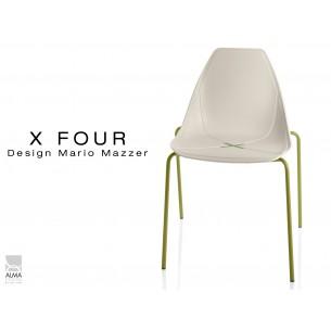 X-FOUR piétement vert militaire assise coque sable clair - lot de 4 chaises