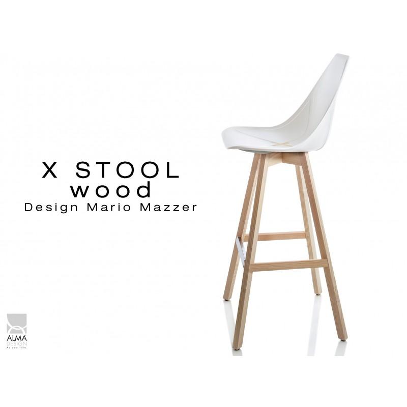 X-STOOL Wood 75 - piétement bois naturel assise coque blanche - lot de 2 tabourets