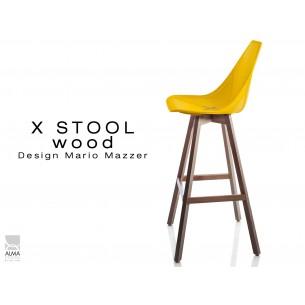 X-STOOL Wood 75 - piétement bois noyer assise coque jaune - lot de 2 tabourets