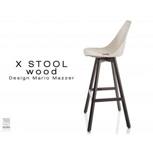 X-STOOL Wood 75 - piétement bois gris fer assise coque sable clair - lot de 2 tabourets