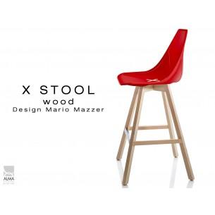 X-STOOL Wood 69 - piétement bois naturel assise coque rouge - lot de 2 tabourets