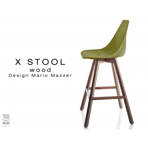 X-STOOL Wood 69 - piétement bois noyer assise coque vert militaire - lot de 2 tabourets