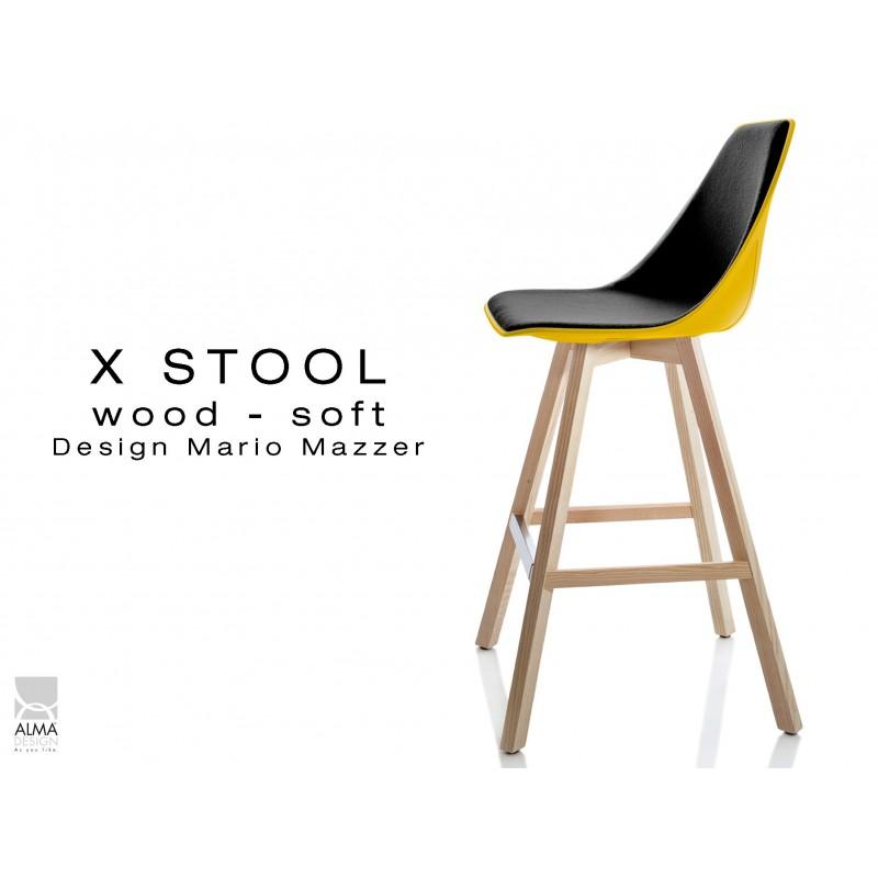 X-STOOL Wood Soft 69 - piétement bois naturel coque jaune capitonnée TE33 - lot de 2 tabourets