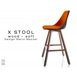 X-STOOL Wood Soft 69 - piétement bois noyer assise coque noir capitonnée TE03 - lot de 2 tabourets
