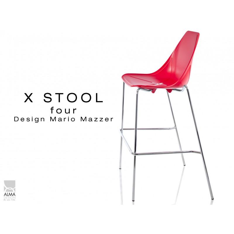 X-STOOL Four 75 - piétement chromé assise coque rouge - lot de 2 tabourets