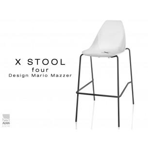 X-STOOL Four 75 - piétement noir assise coque blanche - lot de 2 tabourets